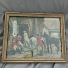 Antique Picture with Thermometer English Foxhunt Hounds Horses Rare