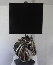 """Modern Nickel Plated Horse Figurine Lamp with Black Square  Lamp Shade 27"""""""