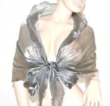 ÉTOLE MAXI foulard GRIS femme châle ondulée echarpe soie voilé élégant scarf F5