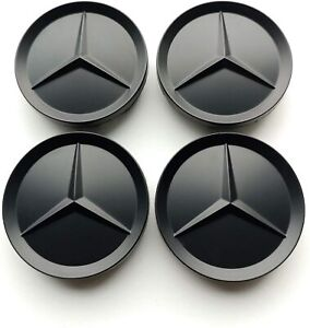 4x 64mm Wheel Centre Caps Matte Black for  Mercedes-Benz Models