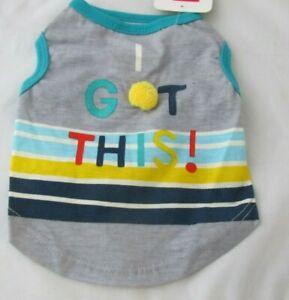 Top Paw Dog I Got This! Colorful Shirt Pom Pom Gray Blue Stripes NWT XS S or M