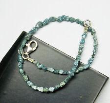 "9 tcw Blue Raw Rough diamond tumbles bracelet, sterling silver 7"" inc bracelet"