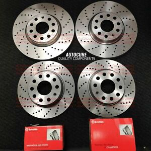 FRONT AND REAR DRILLED BRAKE DISCS & BREMBO PADS FOR VW GOLF R MK7 *NEW*