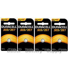4 x 303/357 Duracell Silver Oxide Batteries (AG13, SB-A9, SR1154, SR44SW, WS14)