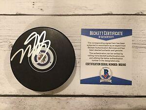 Mark Scheifele Signed Winnipeg Jets Hockey Puck Autographed Beckett BAS COA b