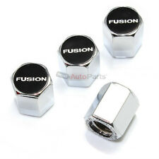 (4) Ford Fusion Black Logo Chrome ABS Tire/Wheel Stem Air Valve Car Caps Covers