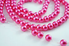 *110pcs Beads-8mm Deep Pink Color Imitation Acrylic Round Loose Pearl Spacer*