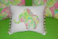 New Elephant pillow made with LILLY PULITZER Chin Chin fabric