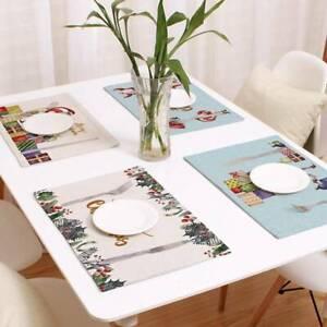 Christmas Dining Table Placemat Linen Heat Insulation Mat Table Mats Decor DP