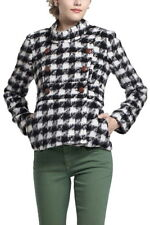 Anthropologie Bold Houndstooth Coat 4 XSmall Small Black + White Wool Jacket NWT