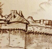 ALBERT WALLAT (1917-1997) Kohlezeichnung; MONT SAN MICHEL IN DER NORMANDIE