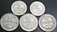 **UNC** 1915, 1916, 1917 Finland 50 Pennia, 1915, 1916 25P - 5 Silver Coins