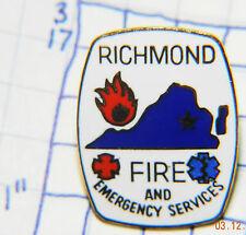 VIRGINIA, RICHMOND FIRE & EMERGENCY SERVICES METAL HAT LAPEL SOUVENIR PIN