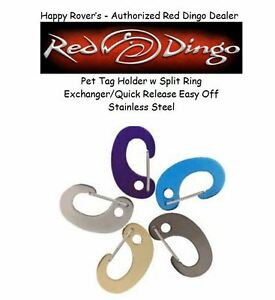 Red Dingo Dog Tag Clip holder-Quick Release easy off ID pet -U Pick Size/Color