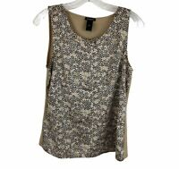 Ann Taylor Printed Mixed Media Sleeveless Scoop Neck Blouse Womens Size Small S