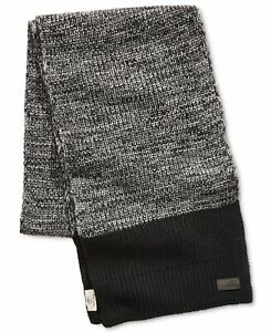 Timberland Mens Accessory Black Gray One Size Marled Knit Muffler Scarf $58 684