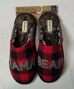 """Dearfoams Women's Red-Plaid Memory Foam """"Mama Bear"""" Slippers Size L (9-10)"""