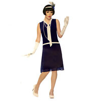 Adult Women's Roaring 20s Daisy Gastby Halloween Classic Costume Navy Blue Dress