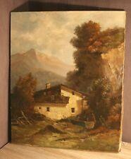 Gemälde Öl Leinwand Malerei signiert F SINGER wohl 19.Jh. Tirol Bauernhof Alpen