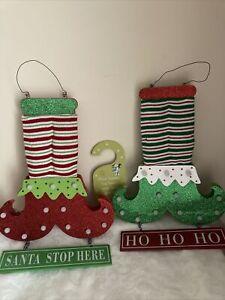 Pair of Light Up Elves Legs Christmas Xmas Hanging Decoration + Santa Door Sign