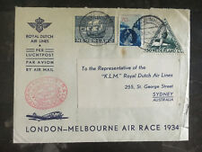 1934 Netherlands to Sydney Australia MacRobertson Air Race Cover KLM Airlines