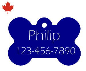 Custom Engraved Personalized Pet ID Tag (dog tag, cat tag) Blue