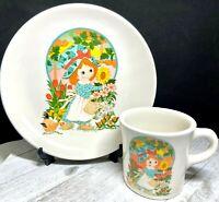 1982 Homer Laughlin Best China USA Child's Plate and Mug Set - Girl w/Sunflowers