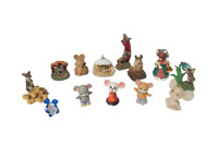 Vtg Mice Figurines Collection Of 13 Various Sizes Porcelain Ceramic Glass Wax