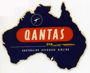 QANTAS AIRLINE ~Australia~ Great Old Die-cut / Map Luggage Label, circa 1950's