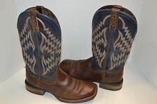 ARIAT TYCOON BAR TOP BROWN BLUE BROAD SQUARE TOE 10 D WESTERN BOOT  10014053