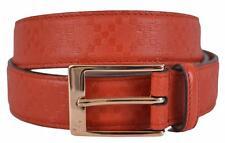 New Gucci Men's 345658 Tabasco Red Diamante Leather Belt 44 110