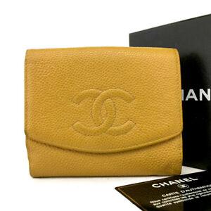 CHANEL CC Logo Black Caviar Skin Bifold Wallet /E0722