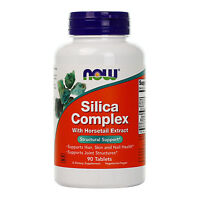NOW FOODS Silica Complex Healthy Part of Hair Skin Nails 90 Tablets, Made In USA