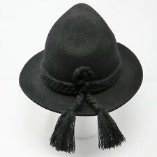 Alpin Sporthut Hat Size 59 L German Black Wool Braided Band Tassels Oktoberfest