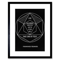"Motivational Live Each Moment Paramahansa Yogananda Framed Wall Art Print 12x16"""