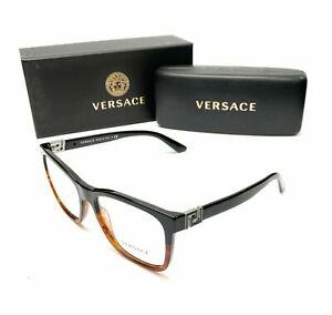 Versace 3243 5117 Black / Havana Women's Authentic Eyeglasses Frame 55-17