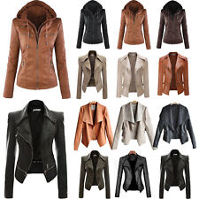 Women Biker Motorcycle PU Leather Zipper Jacket Coat Winter Punk Outwear Outfits