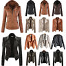 Women Leather PU Hooded Motorcycle Biker Jacket Coats Tops Autumn Winter Outwear