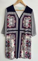 BLUE ILLUSION divine Printed Silk Tunic Dress Size M 12+