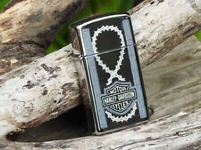 Zippo Lighter - Harley Davidson - Barbed Wire Slim - Bar and Shield - Engraved