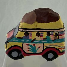 Paper Mache Sculpture Yellow Car Bus Haitian Vintage Hand Painted Signed Ethnic