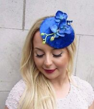 Electric Blue Velvet Orchid Flower Fascinator Hat Races Headpiece Hair Clip 2663