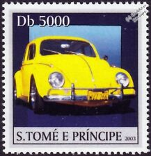 VOLKSWAGEN VW Beetle Käfer Car Stamp #1 Yellow (2003 St Thomas & Prince Islands)