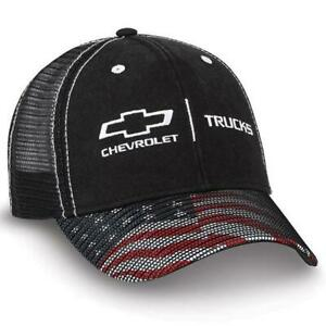 BLACK MESH CHEVY FLAG CAP HAT CHEVROLET TRUCKS! RED WHITE BLUE BILL SILVERADO