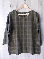 NWOT $198 Eileen Fisher Organic Linen Windowpane Box Top Front Pockets Green PM