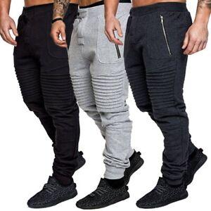 Slim Fit Tracksuit Bottoms Men's Skinny Jogging Joggers Sweat Pants Gym Trousers