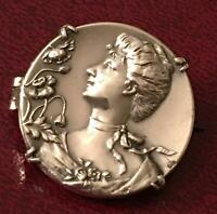 Art Nouveau Sterling Silver Gibson Girl Lady Poppy Brooch French Floral Pin 925