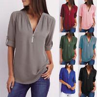 Plus Size Womens V-Neck Loose Chiffon Shirt Ladies Tops Long Sleeve Blouse Top