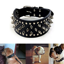 Pet Dog Puppy Adjustable Training Spiked Studded Collar PU Rivet Leather Durable
