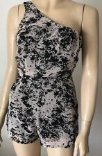 MISO Black & White Patterned One Shoulder Frilly Playsuit Size 6
